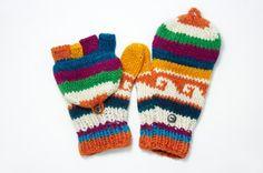 限量一件手織純羊毛針織手套 / 可拆卸手套 - 童趣色彩