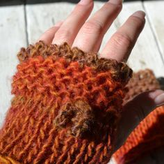 Cozy Knit & Crocheted Wool Blend Fingerless Gloves-Short-Autumn Leaves