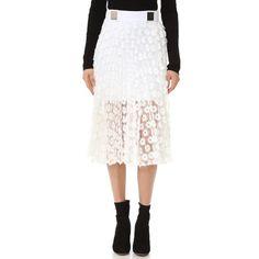 Carven Skirt (714 AUD) ❤ liked on Polyvore featuring skirts, white, white jersey, white embroidered skirt, short fringe skirt, white short skirt and wet look skirt