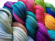 Hand painted 4ply yarn by Glenda Waterworth. Squishy soft alpaca, silk and cashmere blend.