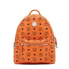 MCM Small Stark Side Studded Backpack In Orange