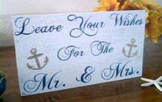 Guest Book Sign NAUTICAL Wedding Sign Navy Blue Wedding ANCHOR Wood Sign Well Wishes for the Mr. & Mrs.