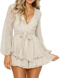 Relipop Women's Polka Dot Jumpsuits Deep V-Neck Long Sleeve Knot Front Ruffle Hem Rompers White Cute Dresses, Casual Dresses, Short Dresses, Summer Dresses, Elegant Dresses, Casual Outfits, Formal Dresses, Nice Outfits, Prom Dresses