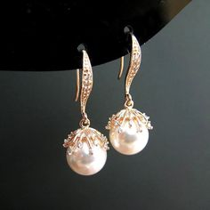 Bridal Pearl Earrings Swarovski 10mm Round Pearl by AllYourJewelry