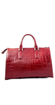 Roxy - Womens #Red Genuine Embossed Leather Top Handle #Handbag #Fashion #Bag gvgbags.com