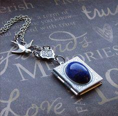Silver Book Locket - Enchanted Lapis Lazuli - Jewelry by TheEnchantedLocket