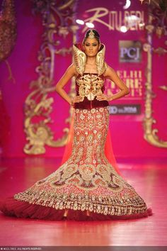 Surelee Joseph showcases a creation by designer Ritu Beri on Day 4 of Delhi Couture Week, held in New Delhi, on August 03, 2013.