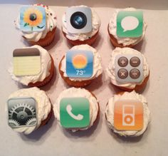 iPhone / IPad Inspired Fondant Cupcake by PeaceLoveandCakeNY