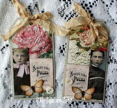 Springtime Roses Handmade Altered Tags Set Of 2