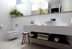 The Block Glasshouse: Apartment six final reveals - The Interiors Addict Bathroom Renos, Laundry In Bathroom, Bathroom Renovations, Small Bathroom, Laundry Powder, The Block Glasshouse, Timber Shelves, Townhouse Interior, Interior Styling