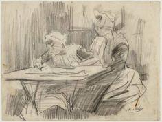 Interieur van het Burgerweeshuis aan de Kalverstraat op nummer 92. Een voorstelling van twee zittende weesmeisjes aan een tafel, van wie er één tekent. Techniek: potlood. Nicolaas van der Waay (tekenaar) 1890-1910 Collectie Stadsarchief Amsterdam #NoordHolland #Amsterdam #wezen #burger