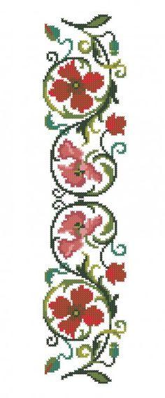 BIG077 Cross Stitch Bookmarks, Cross Stitch Borders, Cross Stitch Rose, Cross Stitch Designs, Cross Stitching, Hand Embroidery Stitches, Cross Stitch Embroidery, Halloween Embroidery, Ribbon Work