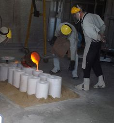 During the pour - bronze pour at the Foundry, Strathnairn Arts, 30 Sept 2014.
