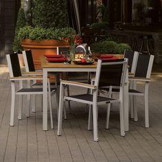 Oxford Garden Travira 7-piece 63 inch Table Set, Black Sling - Teak Armcaps