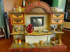 Antique French 'Epicerie Moderne' Wooden Doll House Shop w/ Accessories. found on ebay by wyokaren