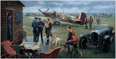"""Return to the Bump - Biggin Hill, Summer 1940 by Gil Cohen Flight Lieutenant Pete Brothers is greeted by his bull terrier """"Merlin"""" on retur..."""