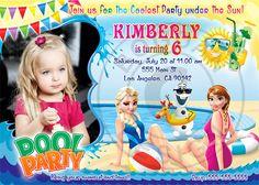 Frozen Pool Party invitation Frozen Summer by BogdanDesign on Etsy