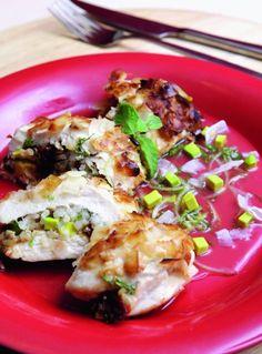 Pollo relleno con arroz y palta