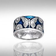 Peter Stone Silver Butterfly & Flower Ring TRI104 ~ Beautifully Enameled in Deep sea and Sky Blues.. Rich vibrant emotional Blues on Fine Sterling Silver