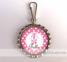 Pink Ballerinas Ballet Shoes Personalized Zipper Pull Name Luggage Tag Keychain Charms - unique gift, kids ballerina birthdays party favors. $5.95, via Etsy.