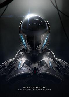 Battle armor by Jens Fiedler on ArtStation. Futuristic Helmet, Futuristic Armour, Robot Concept Art, Armor Concept, Character Concept, Character Art, Character Design, Armadura Cosplay, Space Opera