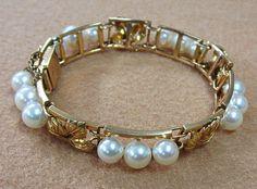 14K Gold Pearl Bracelet Grape Leaves in Jewelry & Watches, Fine Jewelry, Fine Bracelets   eBay