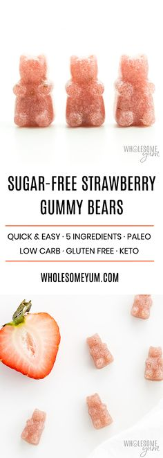How To Make Pink Homemade Sugar-free Gummy Bears (Recipe) - Want to know how to make gummy bears with just 3 ingredients? It's easy! These pink sugar-free gummy bears are made with real strawberries! Keto and low carb Sugar Free Gummy Bears, Sugar Free Candy, Sugar Free Desserts, Sugar Free Recipes, Gluten Free Desserts, Sugar Free Lollies, Sugar Free Meals, Sugar Free Vegan, Low Carb Sweets
