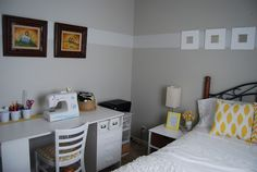 Cheerful combination sewing and guest room