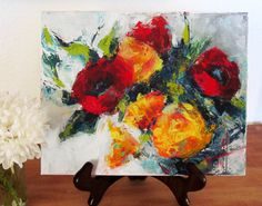 "Yellow & Red Roses Original Palette Knife Painting ""Flower Expressions"" 10x8 inches acrylic art by Anne Thouthip Free Shipping US Address"