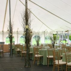 Wedding Tent Pole Decorations | Wedding tent decoration at The Herb Garden - W Flowers Ottawa