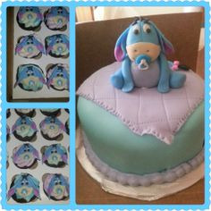 Baby Eeyore Baby Shower cake & cupcakes - 6 cake with 50\50 GF figuring matching cupcakes.