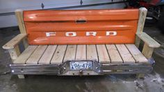 Ford Tailgate bench with bumper by TailgateGuy on Etsy https://www.etsy.com/listing/217955247/ford-tailgate-bench-with-bumper