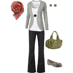 White shirt, dark jeans, gray cardigan, orangey scarf, and green bag. I like the mix of colorful accessories with the neutral outfit. I could do this.