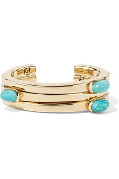 Lisa Eisner | Set of three bronze and turquoise cuffs