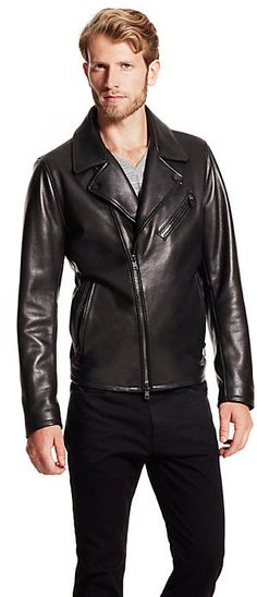 $249, Asymmetrical Leather Jacket by Vince Camuto. Sold by Vince Camuto. Click for more info: http://lookastic.com/men/shop_items/194748/redirect