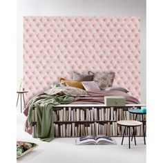 Pink linen tufted fabric wallpaper - Koziel.fr