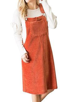 f99a4db0db02 $20 Remikst Womens Front Pocket Corduroy Button Decor A Line Suspender  Overall Skirt Dress at Amazon