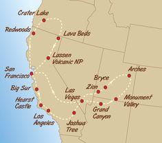 USA Trek Adventure Map - Green Tortoise