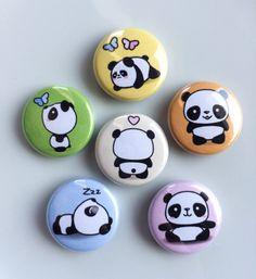 "Kawaii Cute Panda Magnets --- 1"" Refrigerator / Fridge Magnet Set (6 Magnets) by MyLittleUsagi on Etsy https://www.etsy.com/listing/244958303/kawaii-cute-panda-magnets-1-refrigerator"