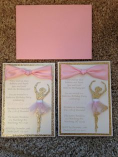 Looking for an elegant and stunning ballerina birthday invite? Why not send out these beautiful invitations! Made of premium card stock, Ballerina Party Decorations, Ballerina Birthday Parties, Barbie Birthday, Barbie Party, First Birthday Parties, Girl Birthday, Girl Parties, Birthday Ideas, Quince Invitations
