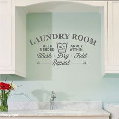 beautiful color for the laundry room and  darling graphics. LOVE this.