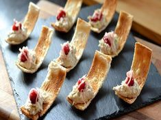 Nice serving idea: Danny Kingston serves up these pretty smoked mackerel canapés just in time for Christmas. These bites are all about balancing the rich smoked mackerel with light and sharp flavours of pickled ginger, cranberries and lime zest. Easy Canapes, Canapes Recipes, Pate Recipes, Appetizer Recipes, Cooking Recipes, Canapes Ideas, Finger Food Appetizers, Finger Foods, Gourmet Appetizers