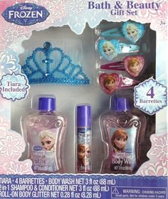 Disney Frozen Bath & Beauty Set Tiara Body Shimmer Body Wash Barrettes Shampoo #Disney