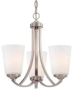 Minka Lavery Overland Park 3-Light Mini Chandelier in Brushed Nickel with Glass Shade