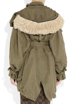 Burberry Prorsum. Army green linen parka with button-on raffia-trimmed hood.