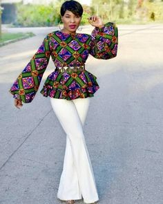 Collection of the most beautiful and stylish ankara peplum tops of 2018 every lady must have. See these latest stylish ankara peplum tops that'll make you stun African Print Dresses, African Fashion Dresses, African Attire, African Wear, African Dress, Fashion Outfits, Ankara Fashion, African Prints, Fashion Ideas