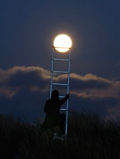 To the moon...i love that there a person out there who actually took their ladder outside and staged this. this is my kinda person.