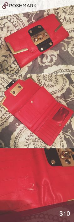 Red River Island Wallet  Red Hot  River Island flip wallet. A little worn but still in good condition. Clasps and zippers work. River Island Bags Wallets