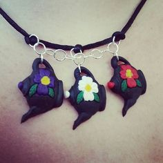 Mini Teapot Necklace by Ashen Remains  #polymerclay #handmadejewellery #miniteapots #ashenremains