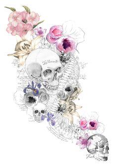 Girly Tattoos, Skull Tattoos, Body Art Tattoos, Skull Pictures, Skeleton Art, Dragonfly Art, Skulls And Roses, Flower Skull, Anatomy Art